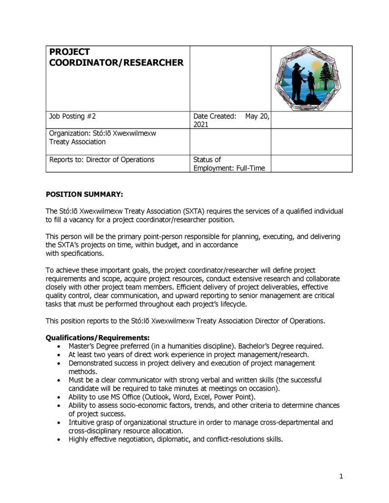 Project Coordinator/Researcher Job Posting